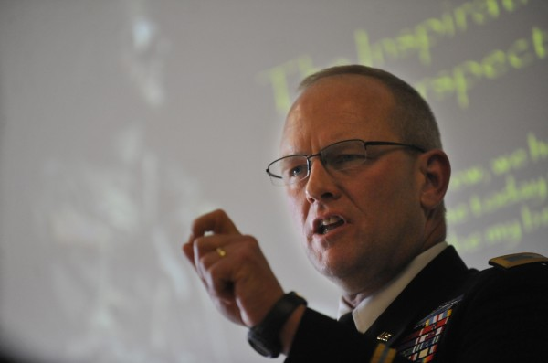 Col. David Sutherland speaks at Husson University in February.