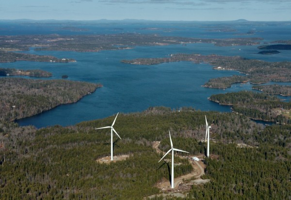 The three wind turbines of Fox Islands Wind Project on Vinalhaven are seen in an aerial photo looking to the northwest that was taken Tuesday, Nov. 17, 2009.