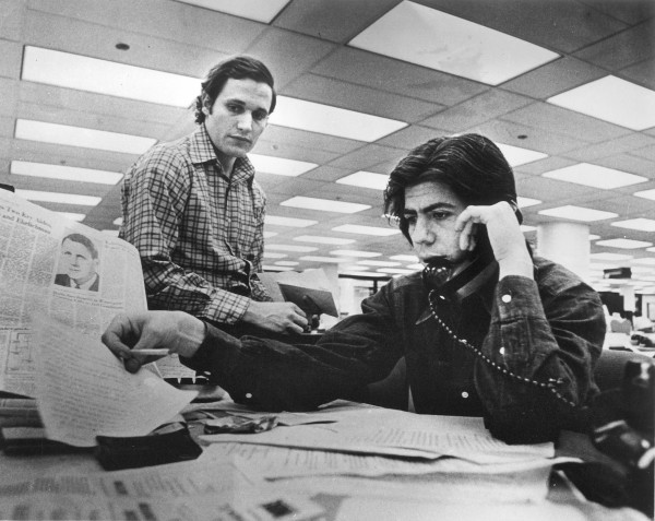 Bob Woodward, left, and Carl Bernstein in The Washington Post newsroom in 1972.
