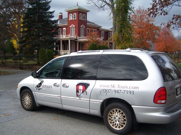 Stu Tinker gives tours of Stephen King's Bangor in his SK Tours van.