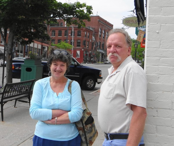 Linda Bucklin and Frank Coombs pose on Lower Main Street in Belfast. The two, with Coombs' wife and Shannon Flood, launched a Facebook page devoted to remembering Belfast and its people in the 1950s through the 1980s.