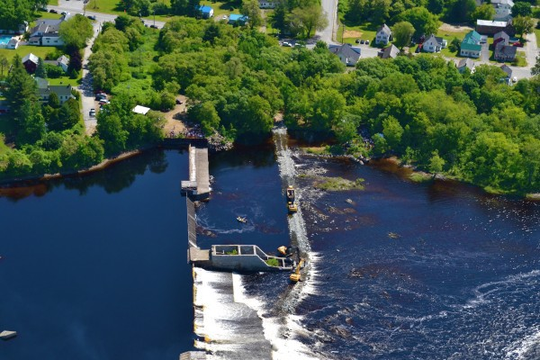 This aerial photo, taken Monday morning, June 11, 2012 shows the breaching of the Great Works dam on the Penobscot River between Old Town and Bradley.