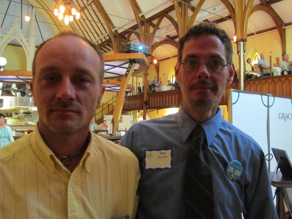 Ira Bittues (left) and Tom Reynolds of Lewiston were honored Sunday, June 10, 2012, with the Maine Democratic Party's &quotPartner in Pride Award&quot for their work to promote equality in Maine.