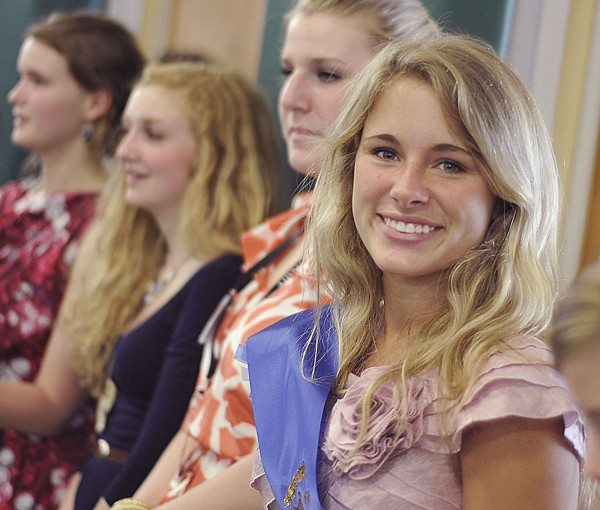 Newly elected Governor of Girl's State Johanna Moody, from Poland Regional High School in Poland, Maine, attends the inaugural ceremonies held at Husson University on Friday, June 22, 2012.