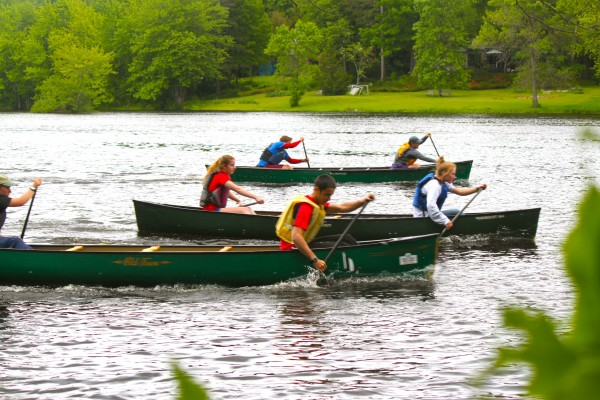 Five members of Orono High School's GoActive outing club practice paddling techniques on the Penobscot River in Orono on Tuesday, June 5, in preparation of the American Canoe Association's 2012 Downriver Open Canoe National Championships scheduled for June 18-22. Paddling are (from left) senior Laurie Hamilton; sophomore Kailey Schmidt; sophomore Calum Hamilton; junior Billy DeSisto; Laurie and Calum's mother, Fiona Hamilton; and sophomore Samantha Nadeau.