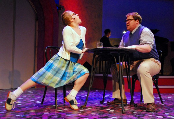 """Actors rehearse for Penobscot Theatre Company's performance of &quot""""I Love You, You''re Perfect, Now Change,&quot directed by Nathan Halvorson."""
