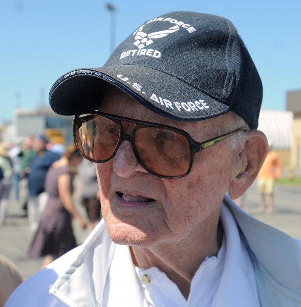 Larry Van Peursem, 91, of Bangor served in the U.S. Air Force during World War II.  Van Peursem flew B-24 and B-25 aircraft delivering fuel for the Flying Tigers. He was one of the three World War II veterans who got to ride in a B-25 during an air show in Bangor Sunday.