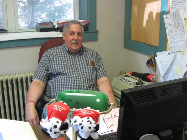 Michael Leo at his desk at the Thomaston Fire Department.