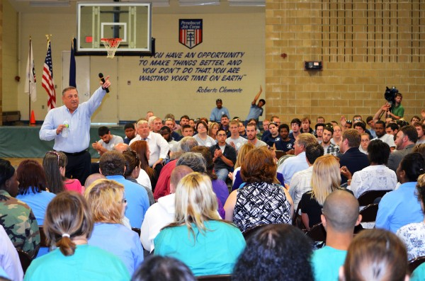 Gov. Paul LePage speaks to a crowd of students at Penobscot Job Corps Academy in Bangor on Friday, June 22, 2012. LePage also toured the facility and had lunch with the students.