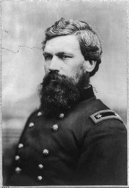 Brig. Gen. Oliver Otis Howard of Leeds led his brigade into the Battle of Seven Pines, Va. on June 1, 1862. As his troops encountered Confederate infantry, Howard was struck in the right wrist by an enemy bullet. Two horses were shot beneath him before another bullet shattered his right elbow, requiring surgeons to amputate his right arm above the elbow. Despite the loss, Howard fought until the war ended.