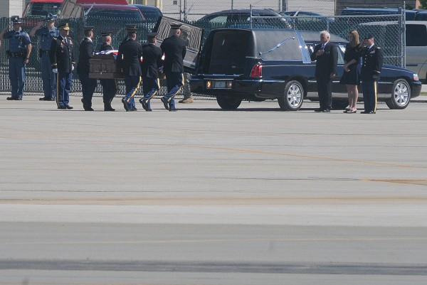 The remains of Newport Army pilot, Capt. John &quotJay&quot Brainard III of Newport were returned to Maine on Thursday morning, June 14, 2012. After plane-side honors, his casket was taken by motorcade to Newport.