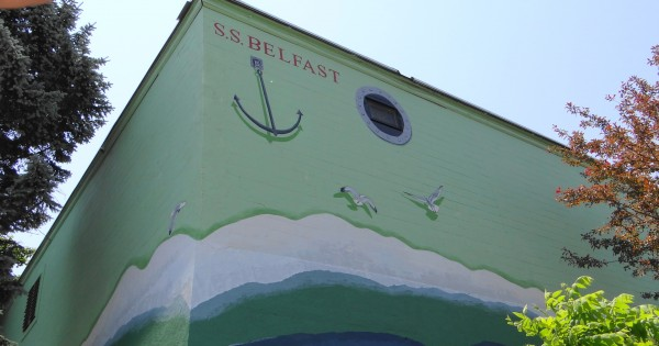 The corner of the Family Dollar Store in Belfast has been painted to resemble a ship.