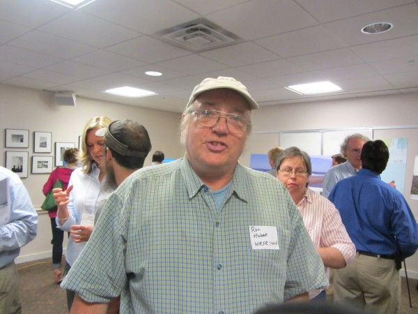 Ron Huber, an environmental activist from Rockland, attended the public informational session Tuesday afternoon in Rockland on the proposed commercial wind power project off Maine.