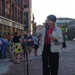 Dale McCormick speaks in Monument Square at the Dyke March in Portland on Friday, June 15, 2012.