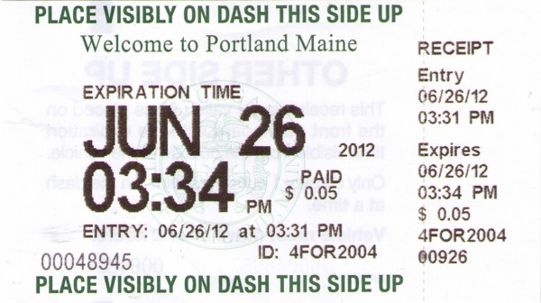 Portland parking meter kiosk receipt.