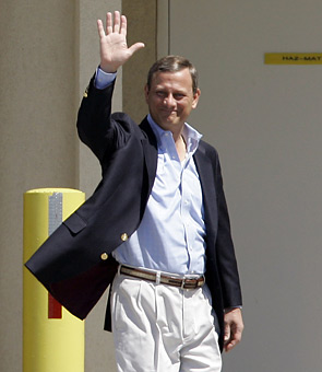 Chief Justice of the U.S. Supreme Court John Roberts leaves the hospital in Penobscot Bay, Maine, in 2007.