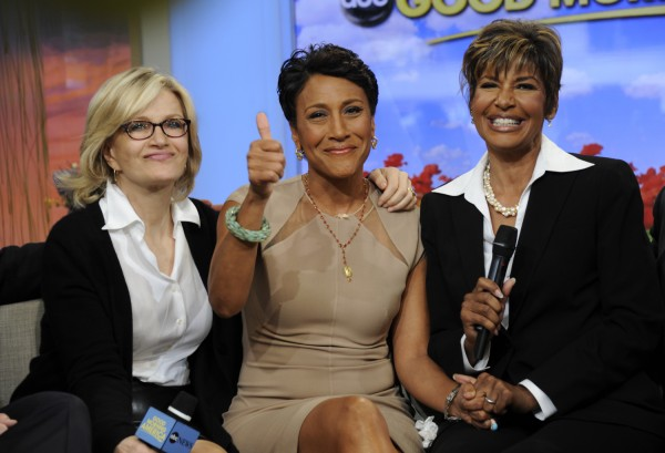This image released by ABC shows host Robin Roberts, center, with her sister Sally-Ann Roberts, right and ABC News' Diane Sawyer on &quotGood Morning America&quot Monday, June 11, 2012, after Robin Roberts announced she has been diagnosed with myelodysplastic syndrome, a blood and bone marrow disease once known as preleukemia. She says she will undergo chemo and a bone marrow transplant this year as &quotpretreatment&quot for the disease, which she says she has known about for several weeks. She says her sister is a great match for her. While she says she'll miss a day here and there, she'll remain on the air.