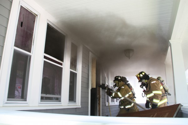 Rockland firefighters battle a fire at a home on Broadway on Thursday, June 14, 2012.