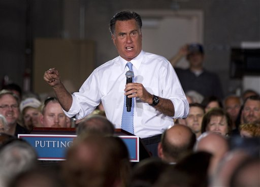 Republican presidential candidate, former Massachusetts Gov. Mitt Romney gestures during a campaign stop at Southwest Office Systems, Tuesday, June 5, 2012, in Fort Worth, Texas.