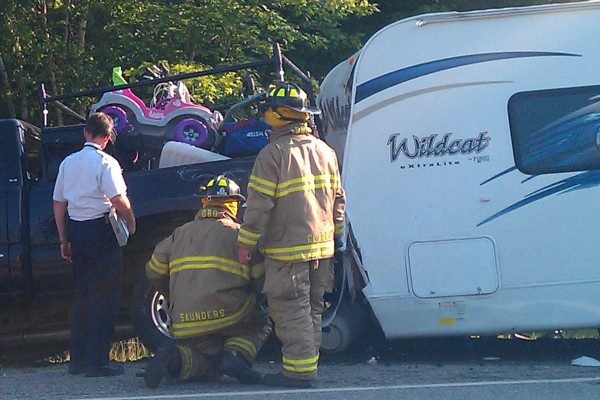 A motorist died in a crash involving a truck pulling a camper on Route 3, closing the road on Friday evening, June 29, 2012.