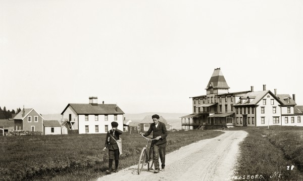 Ryder's Hotel on Islesboro was first established in the late 19th century. Benjamin Ryder opened the island's first boarding house for summer visitors in the building on the right. In 1885, he added the large building with the tower which accommodated 100 guests.
