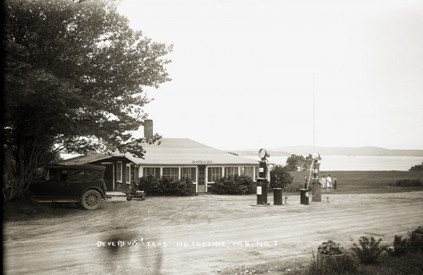 This photograph shows Devereux Ices in North Castine, an ice cream parlor run by Frank and Lowena Devereux on the North Castine-Penobscot town line. Frank developed a baseball diamond behind the building which drew large crowds on Sundays. The family also owned cottages and a picnic area on the shore.