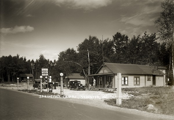Springdale Camps was located on the east side of Route 1A in Stockton Springs. It had about eight tent sites, gas pumps, a store, lunch counter and small dance hall. The town once had several overnight camps and hotels for auto tourists.
