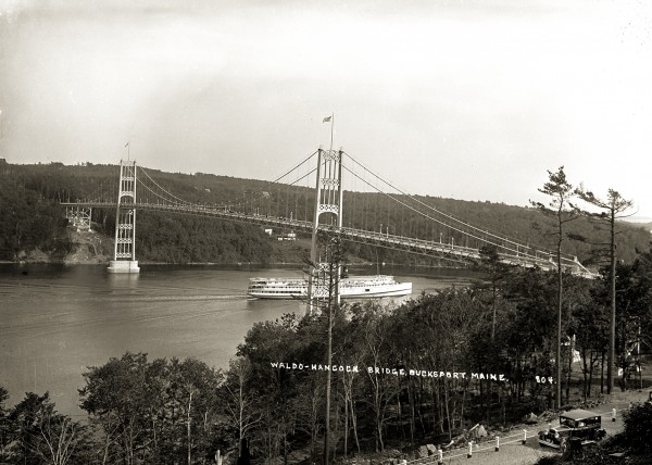One of the Eastern Steamship Company sister ships, Belfast or Camden, passes under the Waldo-Hancock Bridge on the bridge's opening day in November 1931. The steamship company consolidated several smaller lines in 1901. The Belfast and Camden made their last trips in Maine in 1935. Caption information for all photos was researched by museum volunteer Liz Fitzsimmons of Belfast.