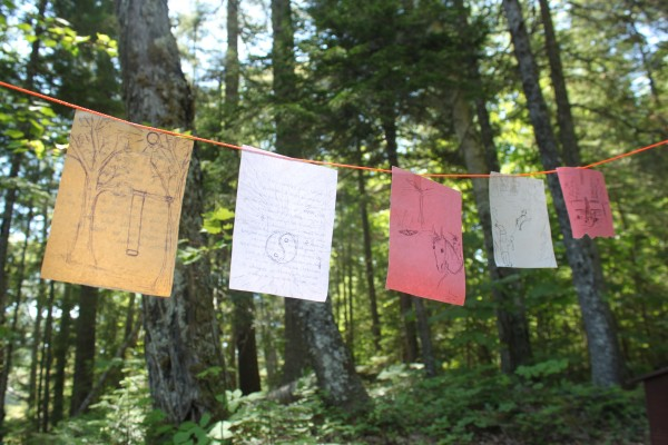 Pieces of construction paper with personal wilderness ethics statements written on them flutter in the wind, fastened to a line at Abol Narrows Campground in Baxter State Park on June 21, 2012. The display is part of the final activity of a Leave No Trace Trainer Course taught by Marcia and Gabe Williamson. Students drew a memorable outdoor moment on one side of the paper and wrote their own wilderness ethics statement on the back, then shared with the group.