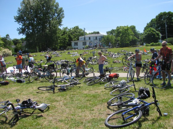 The green slopes of the Belfast Common were festooned Sunday with bikes belonging to the more than 2,000 finishers of the 28th annual Trek Across Maine, the largest fundraising event for the American Lung Association in the nation.