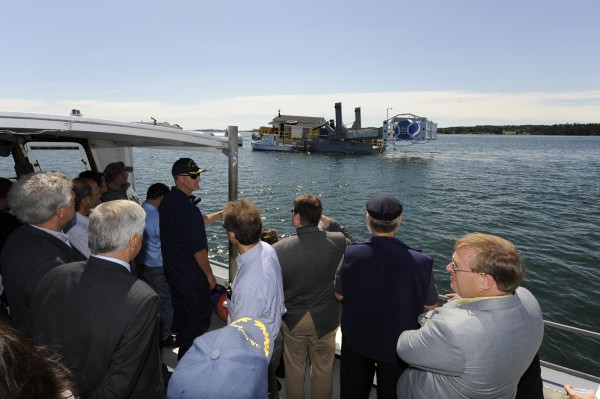 Dignitaries and local residents get an up-close look at Ocean Renewable Power Co.'s tidal turbine in Cobscook Bay on Aug. 24, 2010.