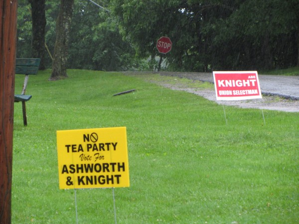 This yellow sign, one of several posted around town, is generating debate in Union.