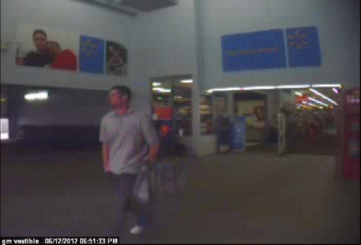 Walmart surveillance image, taken Tuesday night.