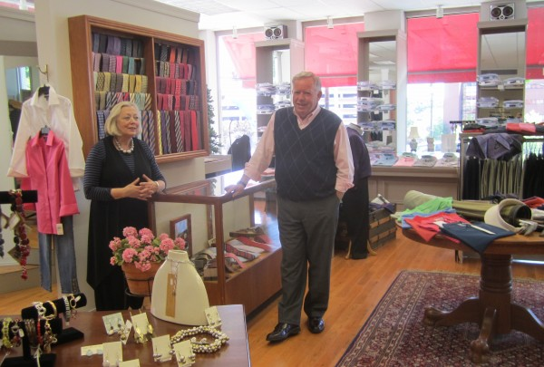 Cindi and Tom Cavanaugh in their Main Street store in Bangor, Best Bib and Tucker. They have been married for nearly 45 years and in business together for almost 40.