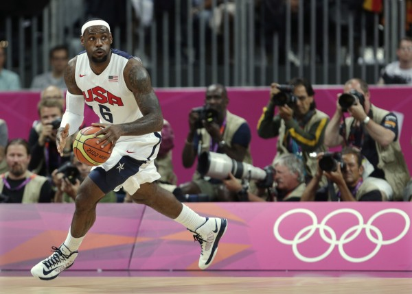 United States' Lebron James looks up the court during the first half of a preliminary men's basketball game against France at the 2012 Summer Olympics on Sunday.