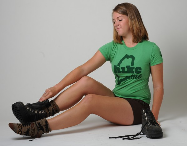 Jacquelyn Dougherty models a HikeME T-shirt in the BDN studio on Tuesday, July 24, 2012.