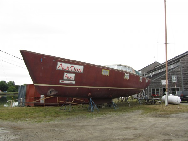This 70-foot unfinished sailboat will be up for auction on Wednesday, Aug. 1, 2012 at the Lyman Morse Boatbuilding in Thomaston.