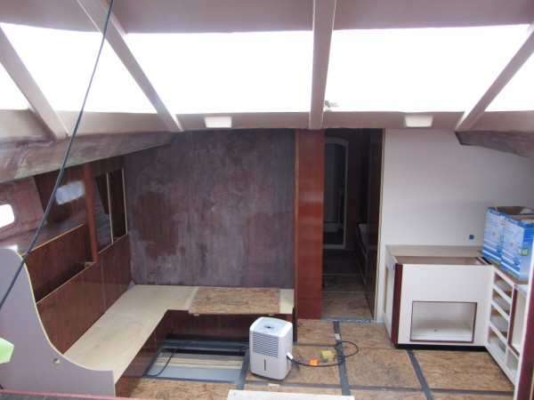 This 70-foot unfinished sailboat, seen from inside, will be up for auction on Wednesday, Aug. 1, 2012 at the Lyman Morse Boatbuilding in Thomaston.