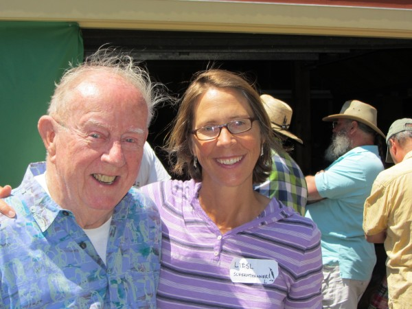 Host Paul Dalrymple of Port Clyde and Liesl Schernthanner of Idaho pose at a gathering of the Antarctican Society in Port Clyde in July 2012.