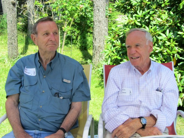Art Jorgensen (left) and Charles Greene were among the many people attending the gathering of the Antarctican Society in Port Clyde in July 2012.