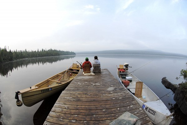 The wharf at the Jalbert Camps on Round Pond is perfect for sitting back and enjoying all the North Maine Woods has to offer.