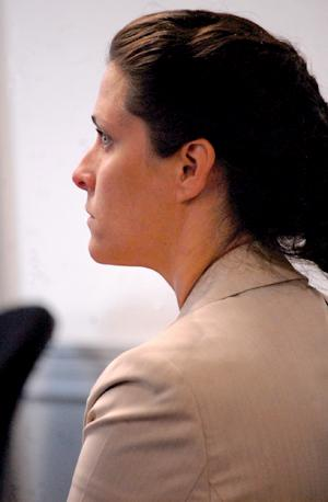 Jessica Pomerleau, a 36-year-old former RSU 57 teacher, appears in York County Superior Court in Alfred Thursday morning, July 19, 2012. She pleaded guilty to gross sexual assault in relation to charges that she had sex with a 15-year-old student last year.