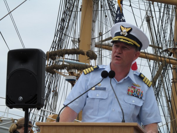U.S. Coast Guard Capt. Raymond &quotWes&quot Pulver, commanding officer of the Barque Eagle, addresses reporters and members of the public Friday morning, July 27, 2012, after the ship arrived in Portland for three days.