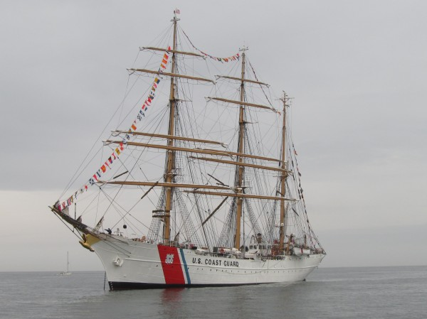U.S. Coast Guard Barque Eagle anchored off the coast of Maine on Friday morning, July 27, 2012, before moving in to the port of Portland for public tours.