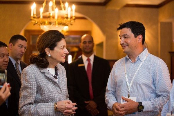 Sen. Olympia Snowe, R-Maine, chats with a representative from Google on Friday, July 27, during an event sponsored by the tech giant to help get Maine businesses online.