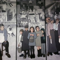Artist Judy Taylor created a series of panels depicting important times in Maine's labor history, and they have been on display at the Maine Department of Labor offices in Augusta since 2008 until Gov. Paul LePage ordered the panels removed.