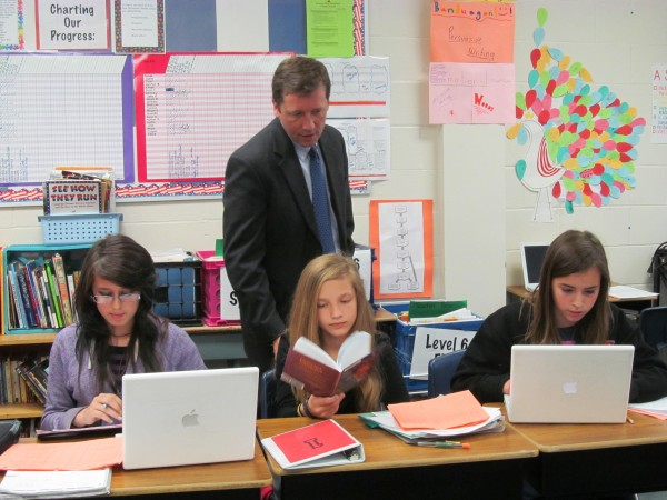 Maine Education Commissioner Stephen Bowen observes sixth-graders at Gray-New Gloucester Middle School in June.