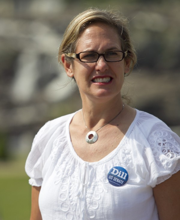 Cynthia Dill, Democratic candidate for U.S. Senate, at the Liberty Festival in Lewiston on July 4.