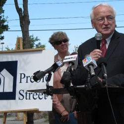 Kevin Concannon -- U.S. Department of Agriculture under secretary for food, nutrition and consumer services -- addresses reporters Wednesday, July 25, 2012, in Portland's Stone Street playground at Unity Village. Concannon, former state commissioner of the Department of Human Services, is visiting southern Maine sites this week to tout summer lunch programs for children and other nutrition initiatives.