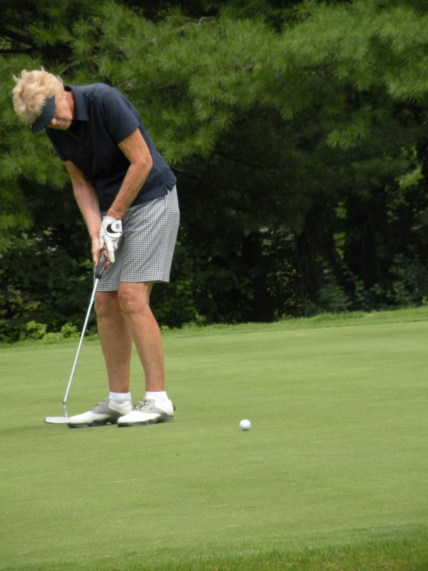 Pennie Cummings of Wayne putts on the 17th hole at Augusta Country Club in Manchester in the second round of the Maine Women's Amateur Golf Championship on Tuesday, July 24, 2012. Cummings shot an 85 for a 159 total and is one stroke behind leader Leslie Guenther of Norway Country Club.